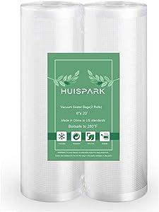 8''x20' Vacuum Sealer Food Grade Bags High Quality Heat Sealing Storage Bag Sous Vide,Vacuum Machin Storage Roll Vacuum Bag Easy Cut Bag(2 Roll)