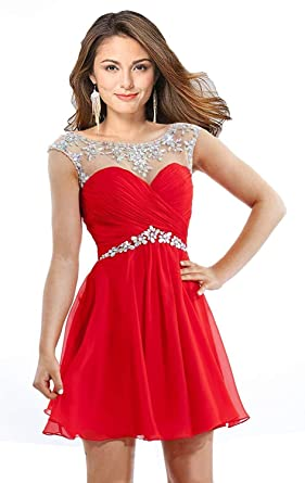 a5894e43eaa1 Butmoon Women's Beaded Homecoming Dresses Short Chiffon Prom Dresses 2018  Red US0