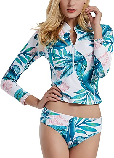 Womens Two Piece Swimsuits Long Sleeve Rashguard Sun Protection Shirt Floral Printed Tankini Swimsuit Bathing Suit