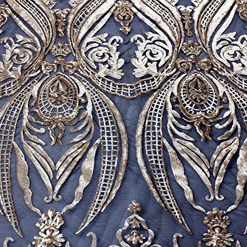 Lace Fabrics New Green/Deep blue/Gold/Champgane on black elastic net sequins 51'' width 1 yard (gold)