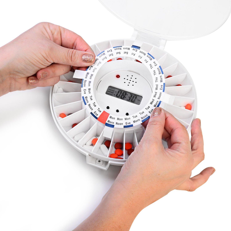 Dispensador de pastillas automático de Ivation, Recordatorio de medicación electrónico con nueva cerradura, una alarma más sonora y luz parpadeante: ...