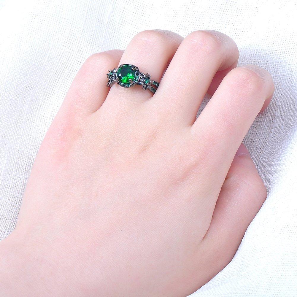Amazon.com: Womens Green Stone Round Lab Stone Engagement Wedding ...