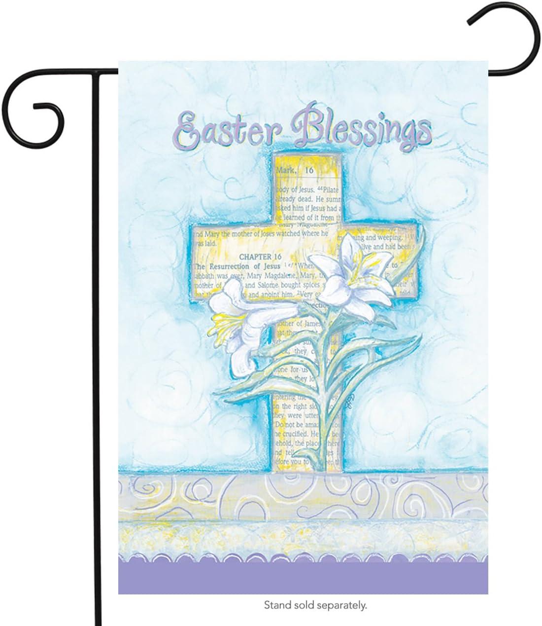 "Briarwood Lane Easter Blessings Garden Flag Cross & Lilies Religious 12.5"" x 18"""