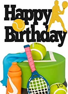 Tennis Cake Topper Happy Birthday Sign Tennis Ball Player Cake Decorations for Sport Theme Man Boy Girl Birthday Party Supplies Double Sided Black Sparkle Decor