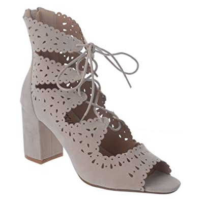 e8f37210ab9 NEW LADIES WOMENS BLOCK HEEL GHILLIE LACE UP PEEP TOE ZIP UP SHOES SANDALS  SIZE