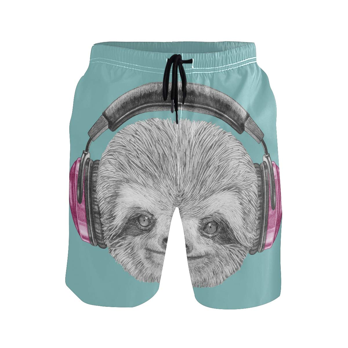 JERECY Mens Swim Trunks Cute Sloth with Headphone Quick Dry Board Shorts with Drawstring and Pockets