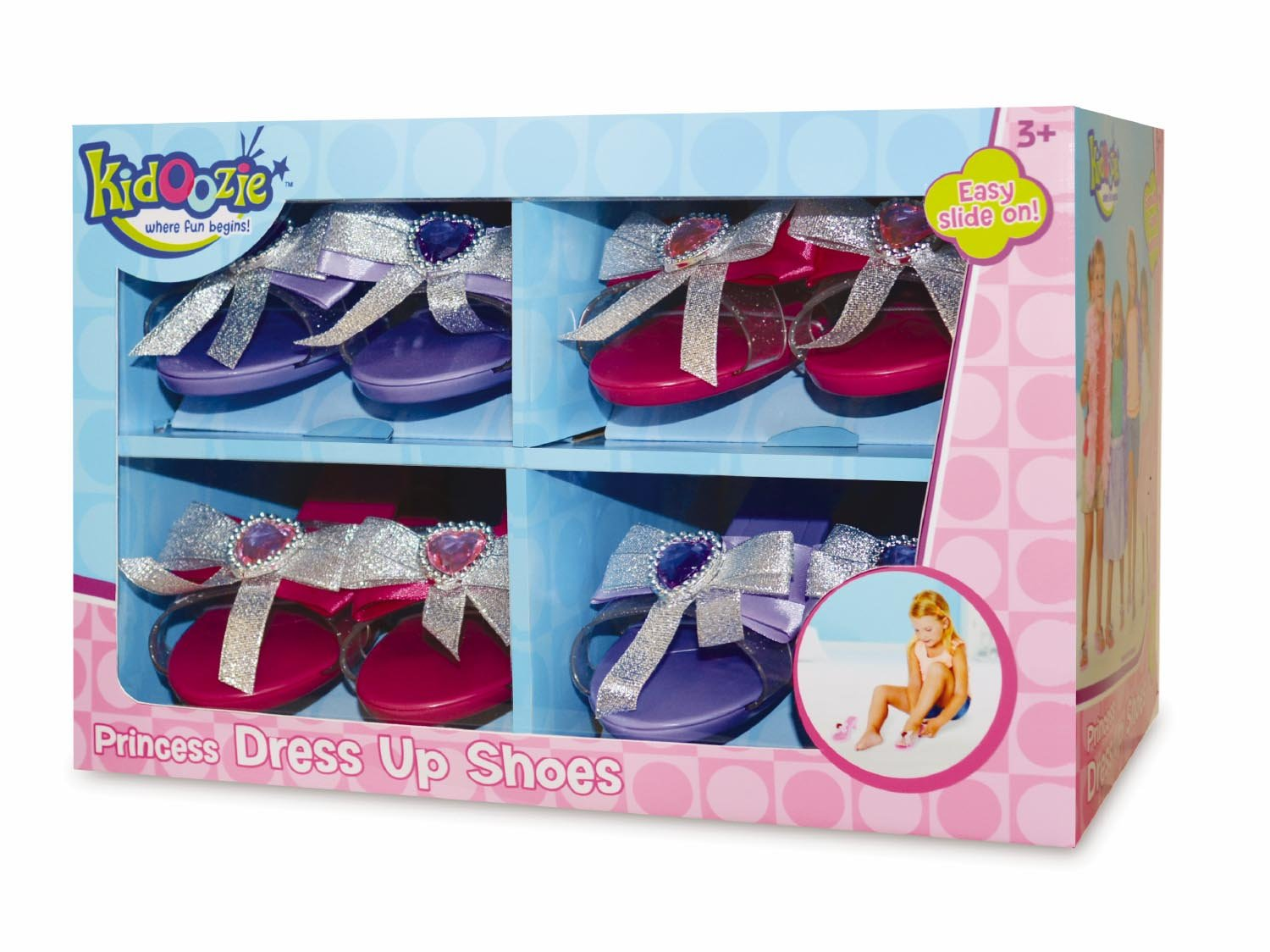 Kidoozie Princess Dress Up Shoes - 4 Unique Pairs of Sparkly Slip-On Pretend Play Heels Adorned with Jewels & Ribbons