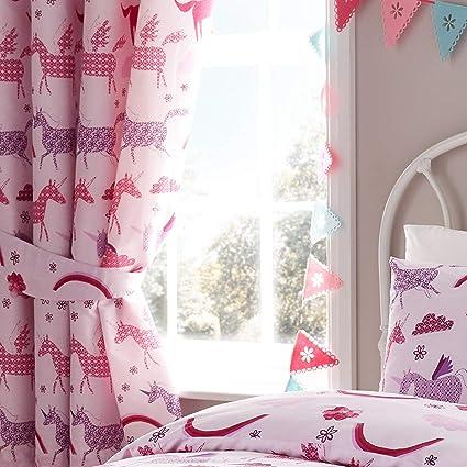 Happy Linen Company Set de Cortinas Infantiles de galón Fruncido con Forro - Unicornios - Rosa