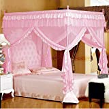 Mengersi Pink Kids Princess Bed Canopy For Little Girls Toddler Twin Bed Curtains Mesh Mosquito Net Christmas Gift Birthday P