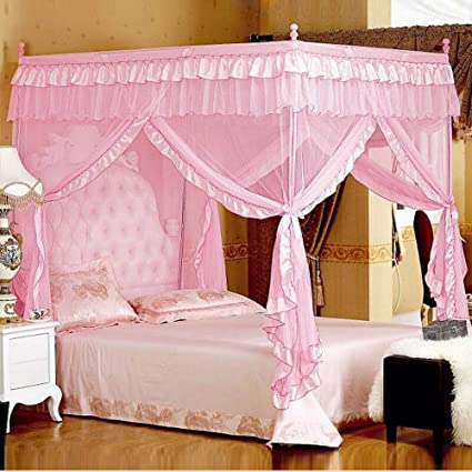 Amazon.com: Pink Princess 4 Corners Post Canopy Bed Curtains For ...