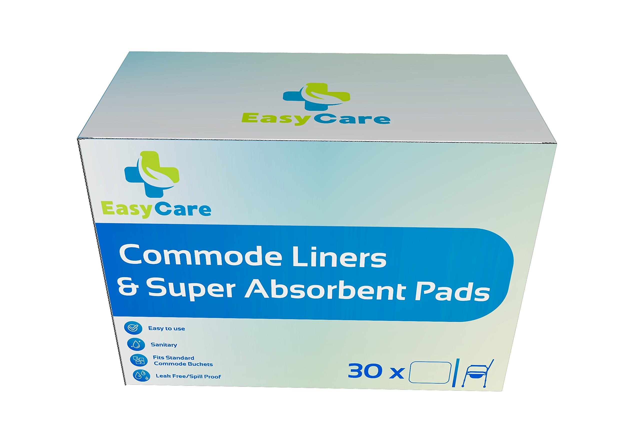 Easycare Commode Liners | 30pk | ($.86/Count) | Commode Liner | Commode Liners with Absorbent Pads | Bedside Commodes for Adults | Portable Toilet