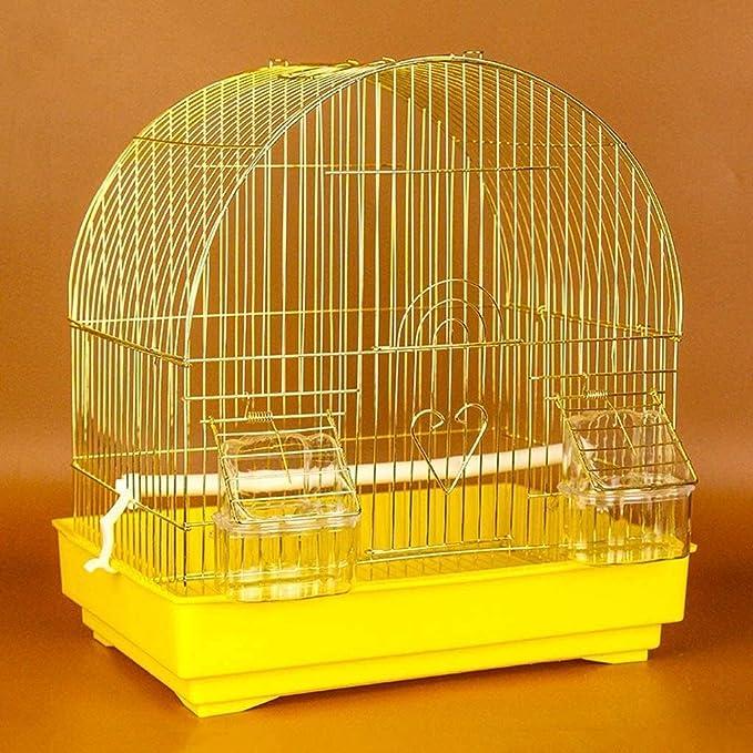 DAGUAI Jaula de pájaros Colgando Jaula de pájaros para pequeño Loro Conure pinzón Canario Budgie Lovebird Jaula de Aves, pájaros de pequeño tamaño portátil Viajes Jaula casera (Color : Yellow)