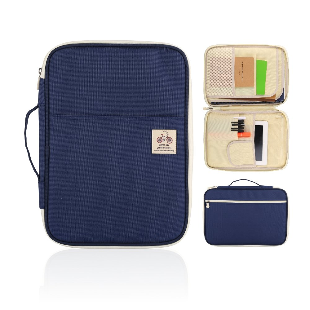 YOUSHARES A4 Documents Bag Portfolio Organizer Holder - Multifunctional Travel Pouch Handy Zippered Case for Notebook, Ipad, Documents and Pens (Blue)