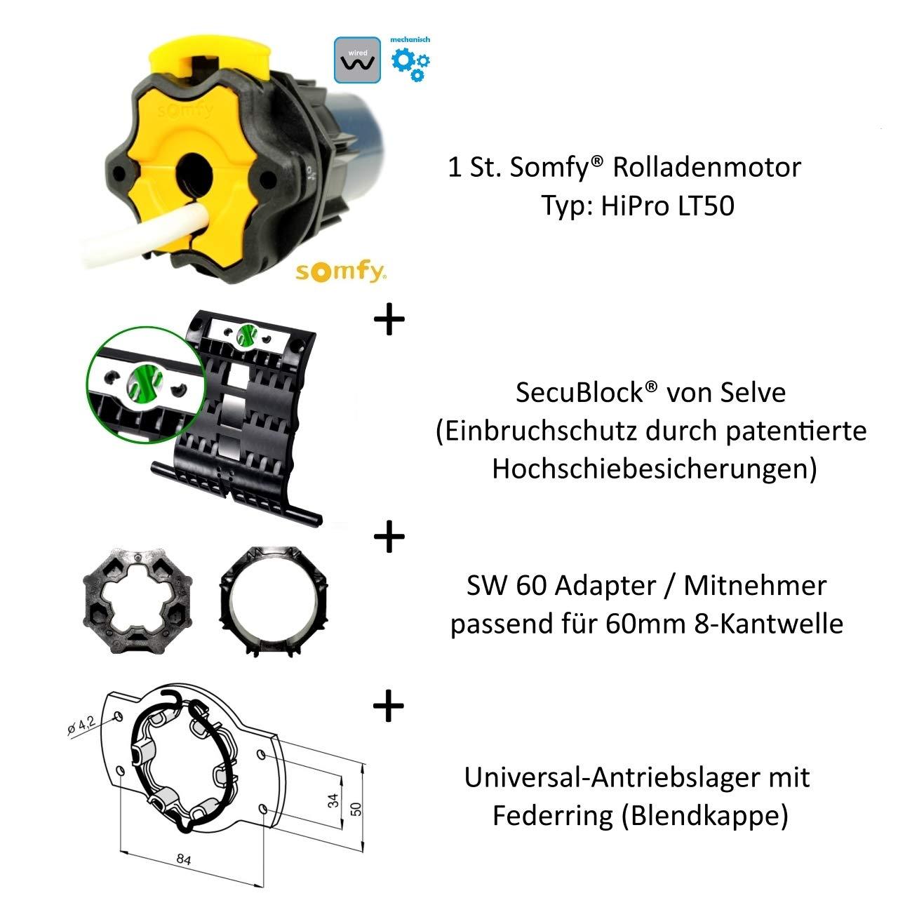 Ceres 10//17 + 3 St. SecuBlock Anschlusskabel und SW 60 Adapter//Mitnehmer. HiPro Ceres 10//17 inklusive Motorlager Hochwertiger Rohrmotor von Somfy/® f/ür Rolladen 2-gliedrig