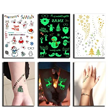 db5b2a75c Christmas Temporary Tattoos Fake Tattoo for Kids, 3 in 1 Holiday Body  Stickers Sheets (