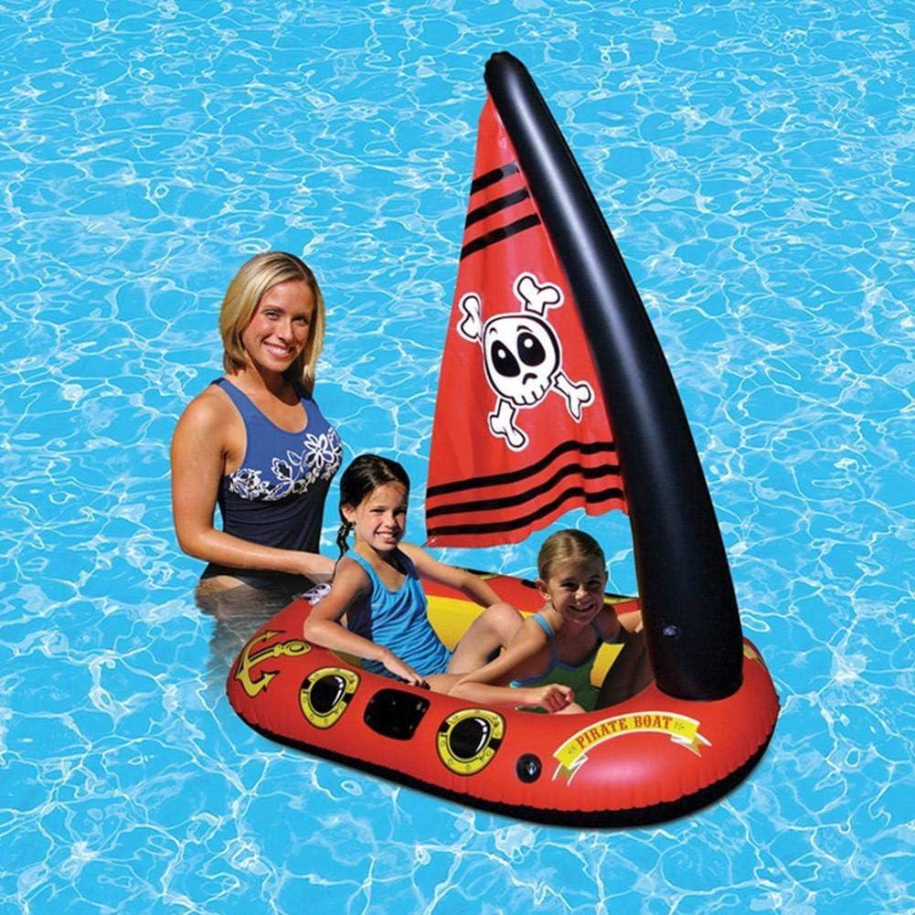 Flotador inflable flotante de la piscina del barco del pirata del juguete con la bomba de pie para los niños Juguete del agua del barco del pirata de la cama del flotador de la piscina del niño del