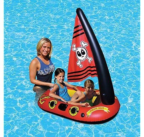 Flotador inflable flotante de la piscina del barco del pirata del juguete con la bomba de pie para los niños Juguete del agua del barco del pirata de la cama del flotador