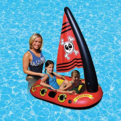 Flotador inflable flotante de la piscina del barco del pirata del juguete con la bomba de pie para los niños Juguete del agua del barco del pirata de ...