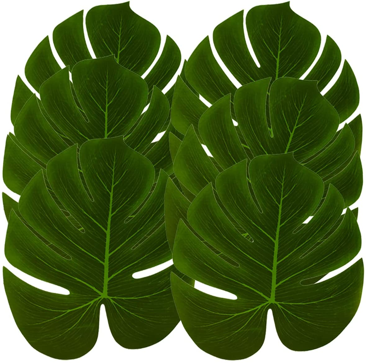 Hopeak Artificial Palm Leaves, 48 Pieces Large Palm Leaves for Hawaiian Luau Party Jungle Beach Theme Party Birthday Party Table and Wall Decorations