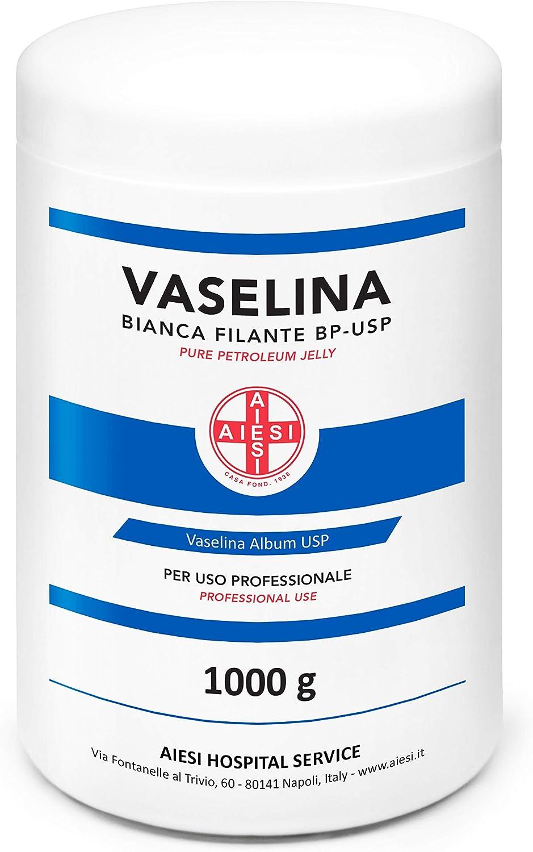 AIESI® Vaselina Blanca Pura BP-USP Petroleum Jelly frasco de 1 kg para uso Médico Dermatológico y Profesional # Made in Italy