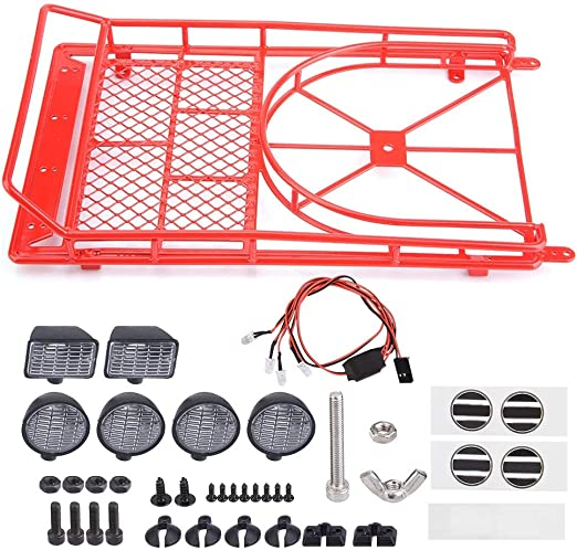 Zouminy with 4 LED Lights Roof Rack Luggage Carrier for Axial SCX10 1//10 Scale RC Crawler Car Red