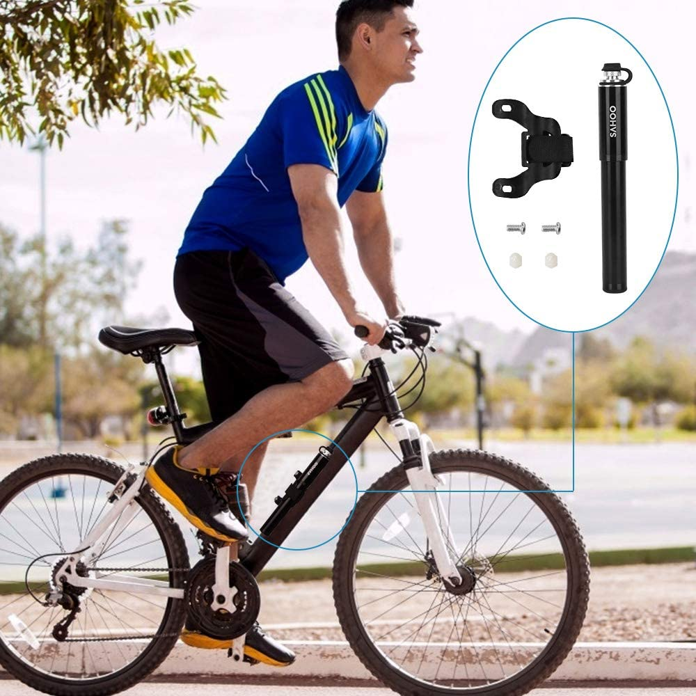 Road/Bike/Pump Fits Presta and Schrader 160 PSI High Pressure Handheld Portable Fast Air Bicycle Frame Pump Mounted Bicycle Tire Pump with Glueless Puncture Kit for Road MTB BMX AutoWT Mini Bike Pump