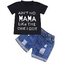 GRNSHTS Baby Boy Letter Clothes Summer Short Sleeve Tops Denim Pants Shredded Jeans Outfit