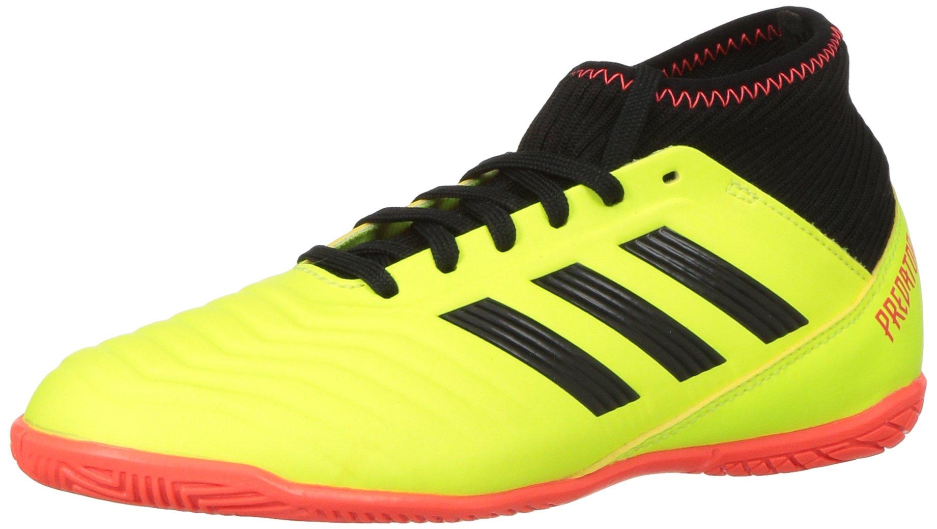 adidas Unisex-Kids Predator Tango 18.3 Indoor Soccer Shoe, Solar Yellow/Black/Solar Red, 6 M US Big Kid