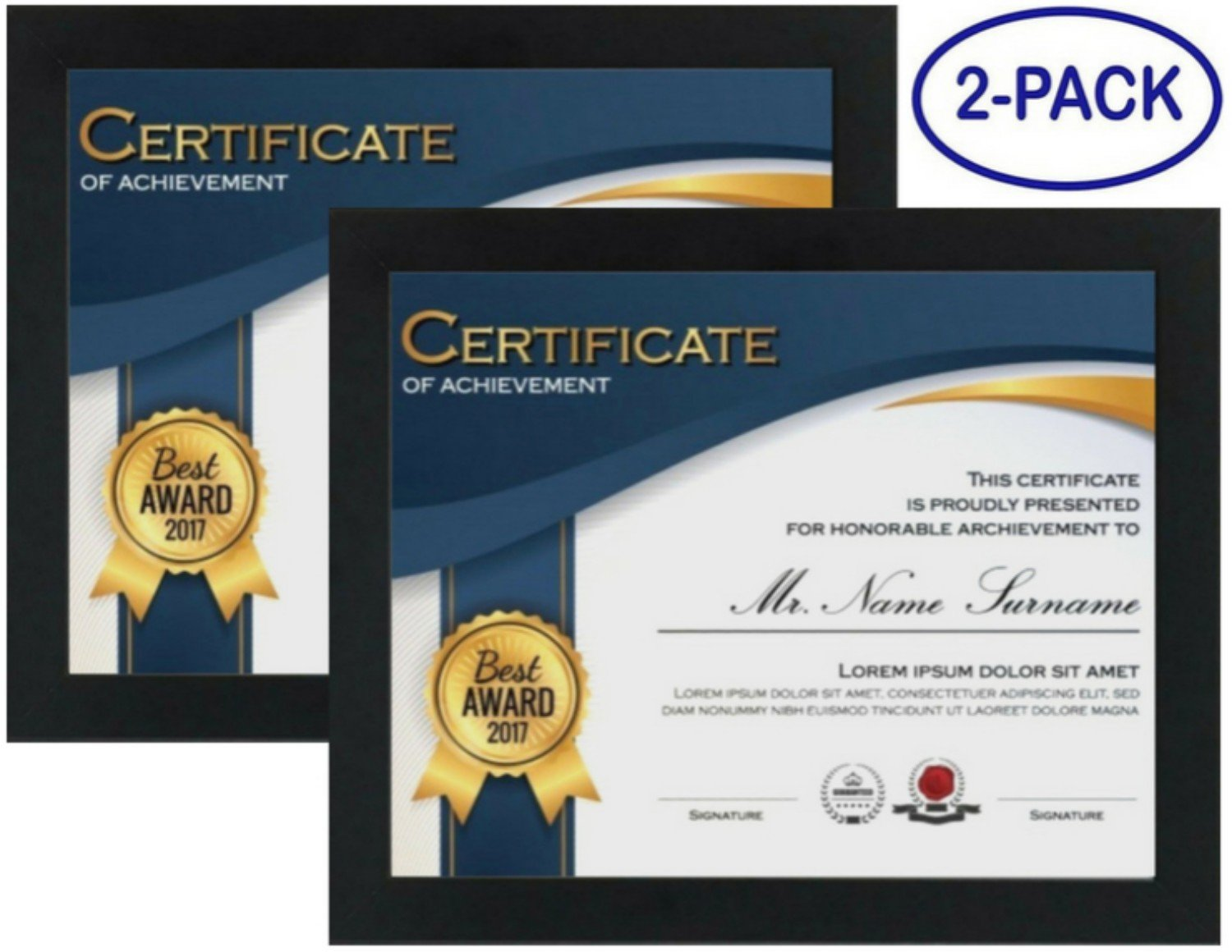 Certificate Frames (2-Pack) - Made to Display Documents 8.5x11 Inch - Wood - REAL GLASS FRONT - Hang Vertically or Horizontally - Certificate Frames 8.5 x 11 Multi-Pack Degree Award Standard Paper