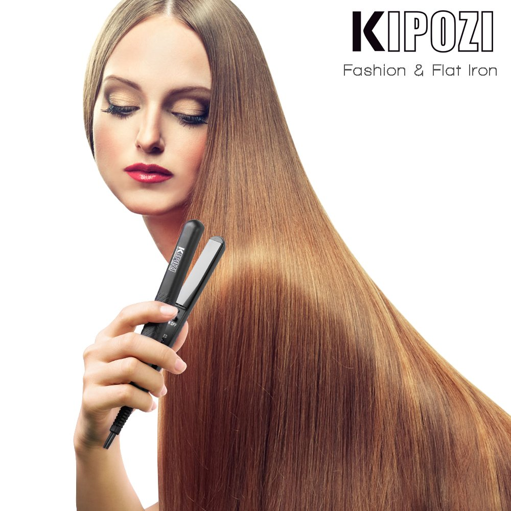 KIPOZI Hair Straightener Mini 0.5'' Ceramic Flat Iron for Travel, Effective for Bangs Short and Thin Hair,Dual Voltage HeatsUp Quickly Black by KIPOZI (Image #8)