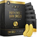 24K Gold Eye Mask– 30 Pairs - Puffy Eyes and Dark Circles Treatments – Look Less Tired and Reduce Wrinkles and Fine…