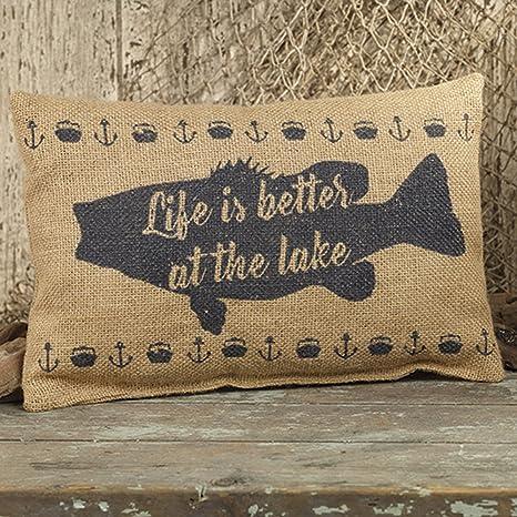 Amazon.com: La vida es mejor en el lago peces 12 X 8 Burlap ...