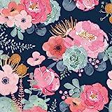 HaokHome 93005-1 Peel and Stick Modern Floral Wallpaper Pink/Green/Navy Blue/Orange Vinyl Self Adhesive Prepasted…