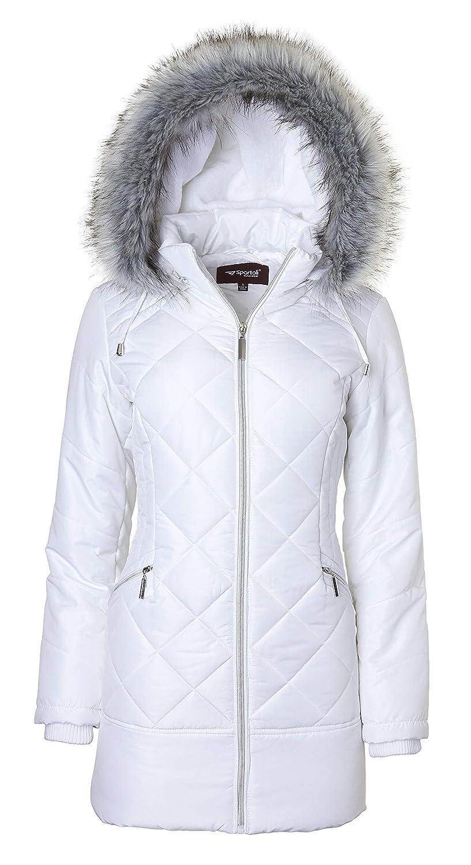 Women's Long Down Alternative Puffer Coat Zip-Off Plush Lined Fur Trim Hood