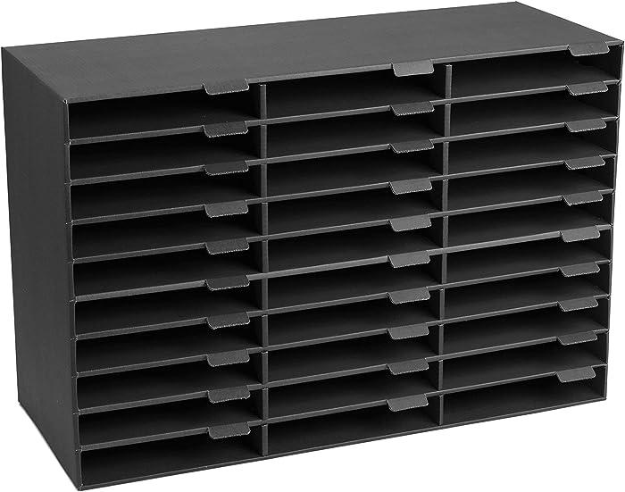 AdirOffice File Organizer Classroom - Office - Home - Corrugated Cardboard (30 Slots, Black)