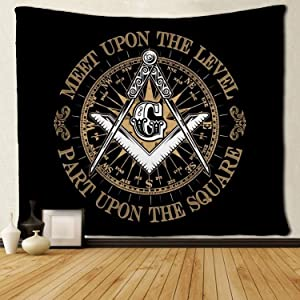SARA NELL Wall Hanging Tapestry Masonic Faith Hope and Charity Freemason Logo Tapestries Wall Tapestry Home Decorations for Living Room Bedroom Dorm Decor in 50x60 Inches