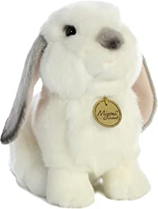 """Aurora - Miyoni - 11"""" Lop Eared Rabbit with Grey Ears-Md.,White and Gray"""