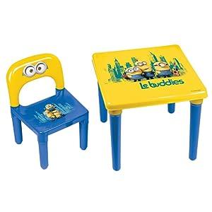 Minions Ma Première Activité Table et Chaise Enfant/Bureau Préscolaire Officiel et Chaise, 3 ans et +, Bob/Kevin/Stuart Ensemble de meubles pour enfants, plastique solide Made in France Jaune/Bleu