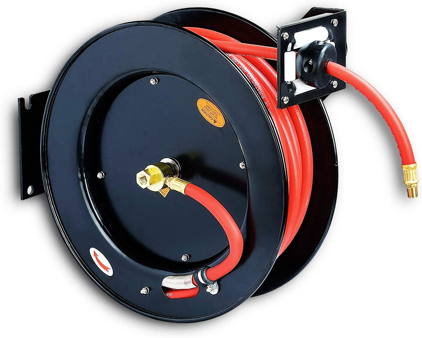 """REELWORKS Air Compressor/Water Hose Reel Retractable Spring Driven Steel Construction Heavy Duty Industrial 3/8"""" x 50' Max 300 PSI Premium Commercial SBR Rubber Hose"""