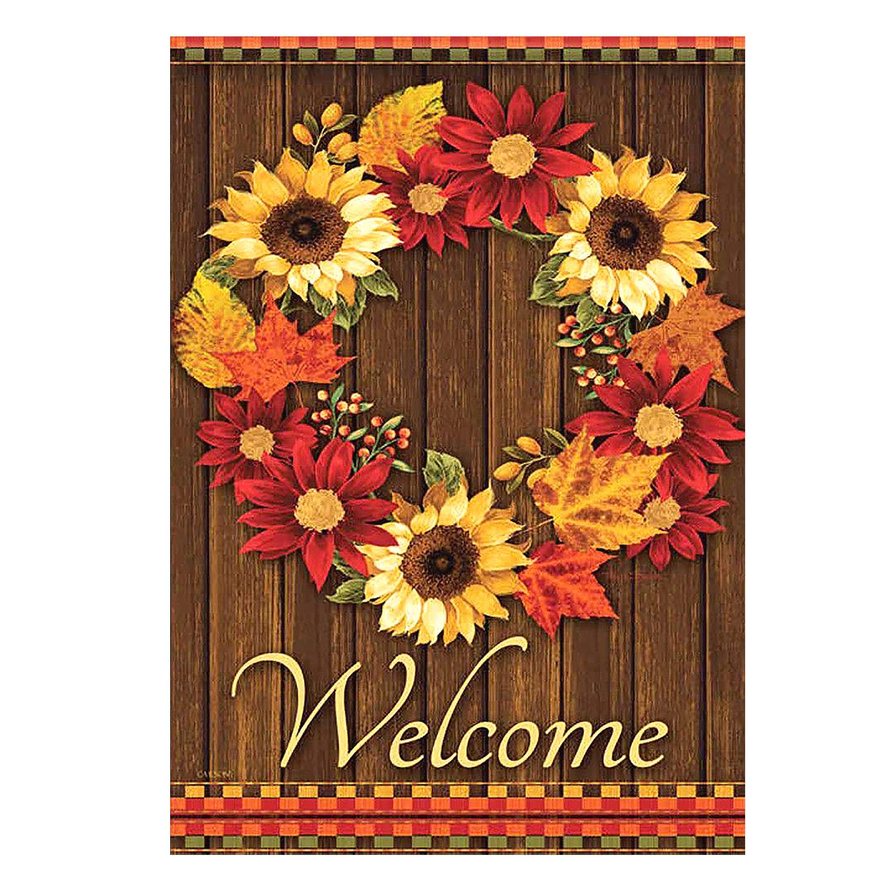 ALAZA Welcome Wreath Sunflower Maple Leaves Cabin Double Sided Garden Yard Flag 12'' x 18'', Flowers Wreath Summer Spring Autumn Fall Decorative Garden Flag Banner for Outdoor Home Decor Party