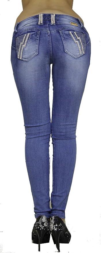 Vaqueros Con Bolsillos Traseros Strass Wonder / Push Up Súper Pitillo Skinny Jeans Efecto Wonder Estilo Colombiano 100% Levanta Glúteos
