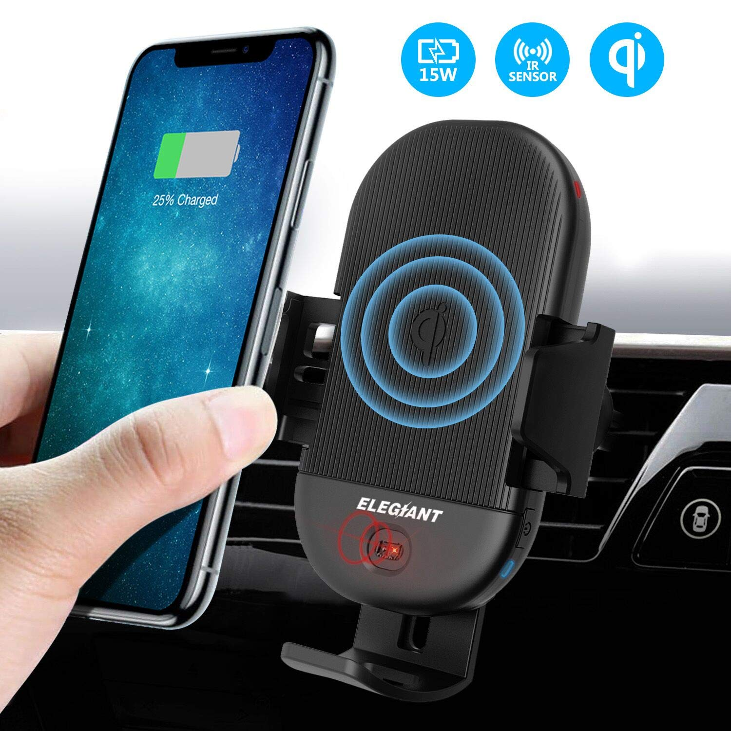 Wireless Car Charger Mount, ELEGIANT 15W 10W 7.5W Infrared Induction Automatic Clamping Air Vent Phone Holder Compatible with iPhone Xs/XS Max/XR/X/8/8 Plus Galaxy S7/S8/S9 and All Qi Capable Devices