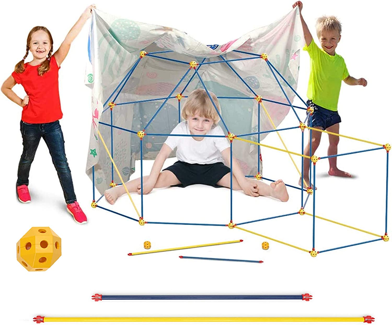 Fort Building Kit for Kids Boys Girls, WUEAOA Castle Tunnels Make Play Tent Tower, Toys for DIY Builder Indoor Outdoor, with Connecting Rods & Multilink Spheres, 100 Pcs(3-12 Age, with Tent Sheet)