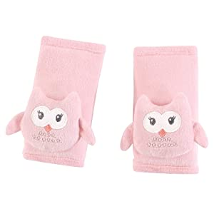 Hudson Baby Unisex Baby Cushioned Strap Covers, Pink Owl, One Size
