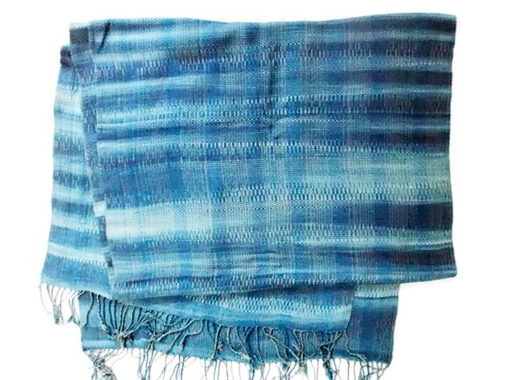 Premium Thai Hand Woven - Organic Textiles Dyed with Several Natural Dyes - 75'' (186 Cm.) X 23''(56 Cm.) Wraps / Scarf / Scarves / Shawl / Home Decoration