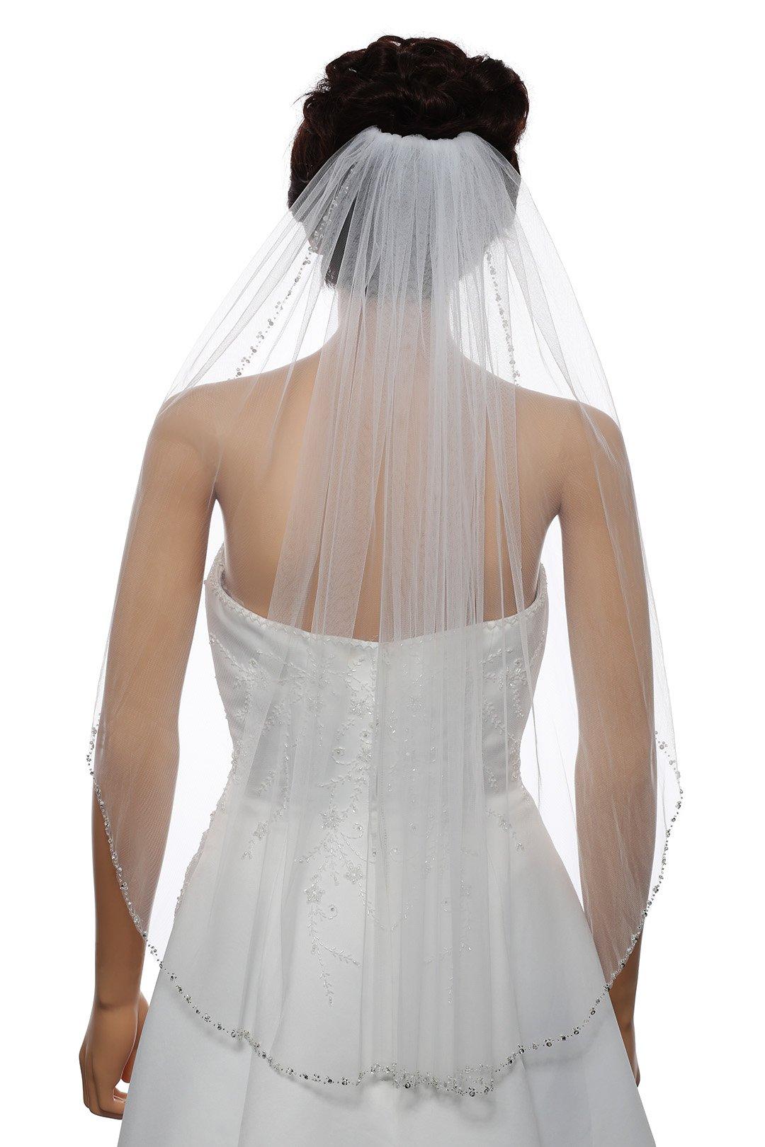 1T Rhinestone Pearl Sequin Beaded Wedding Veil - White Elbow Length 30'' V478 by SAMKY