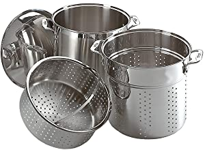 All-Clad E796S364 Specialty Stainless Steel Dishwasher Safe 12-Quart Multi Cooker Cookware Set, 3-Piece, Silver