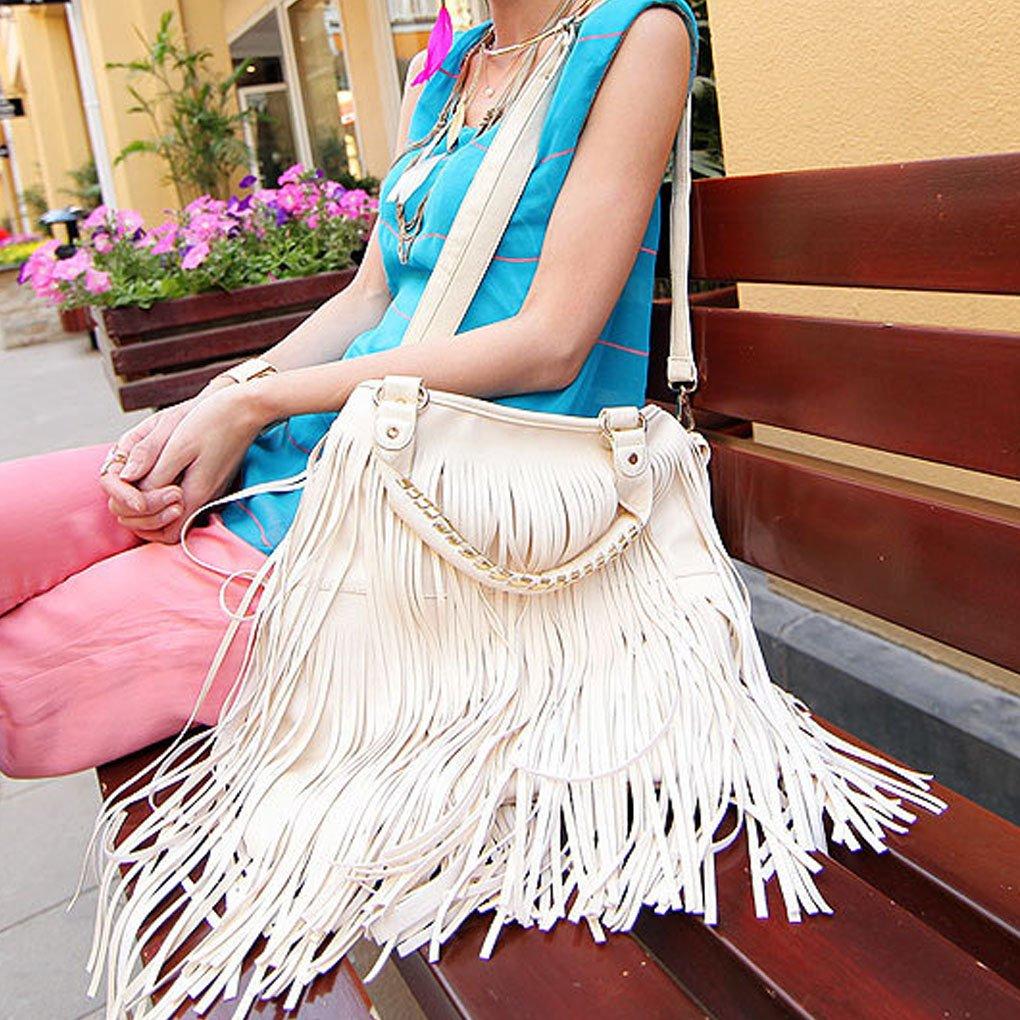 Caszel Women's Large Capacity Waterproof PU Leather Fringe Tassel Shoulder Bag Casual Hobo Handbag Crossbody Bag Beige by C.A.Z (Image #2)