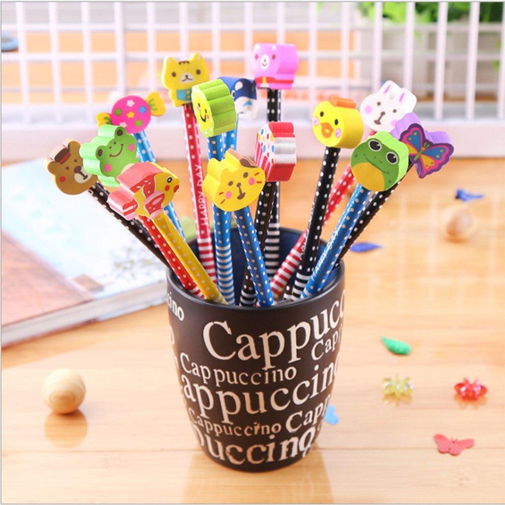Lápices para Niños,Morkia 20Pcs Lapiz Grafito Niños Lápices Infantiles con 20 pcs Gomas de Borrar de Formas de Animales Perfecto para Niños Regalos para Fiestas Cumpleaños Premios Escolares