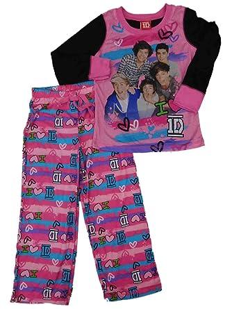 Amazon.com: 1D Girls Pink One Direction Pajamas I Love Flannel Sleep ...